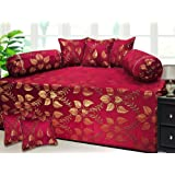 Milan Polycotton and Silk 8 Piece Diwan Set, Maroon and Gold