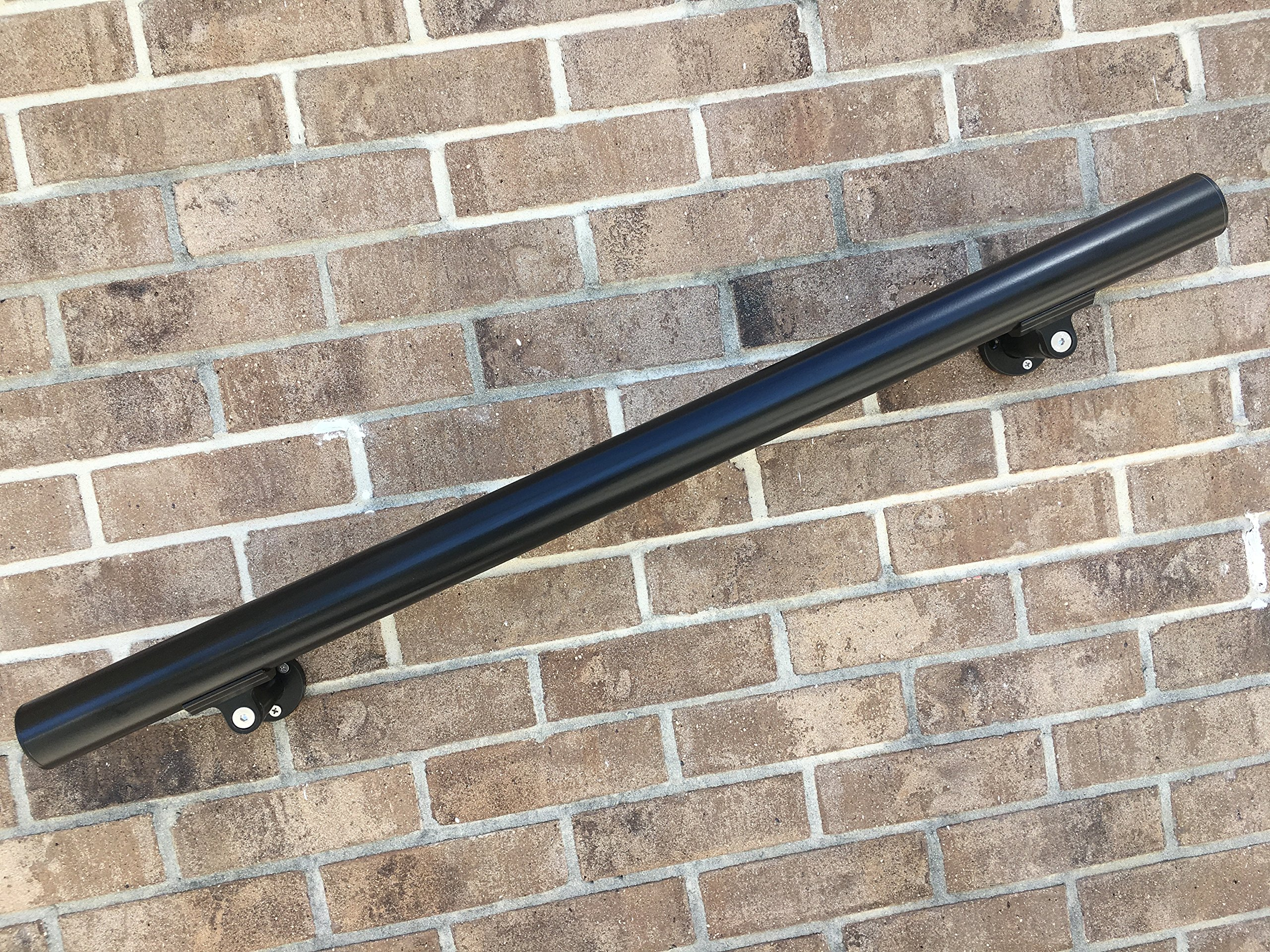 B52 Black Handrail Aluminum Stairs Kit 7 Ft and 1.97''diam, Includes 3 Wall Brackets. by Aress Corporation