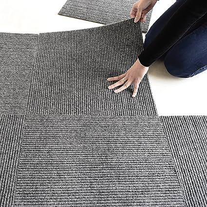 PEEL AND STICK Carpet Tile Charcoal Grey 18u0026quot;x18u0026quot; (10 Tiles/Case