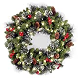 Amazon Price History for:National Tree 24 Inch Crestwood Spruce Christmas Wreath with Silver Bristle, Cones, Red Berries and 50 Clear Lights (CW7-306-24W-1)