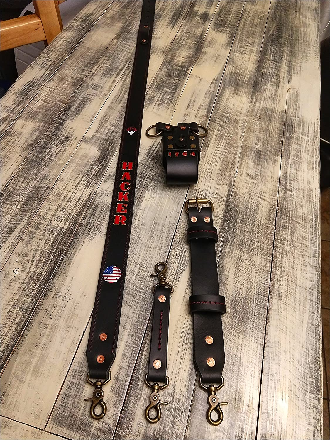 Firefighter Leather Radio Strap Set