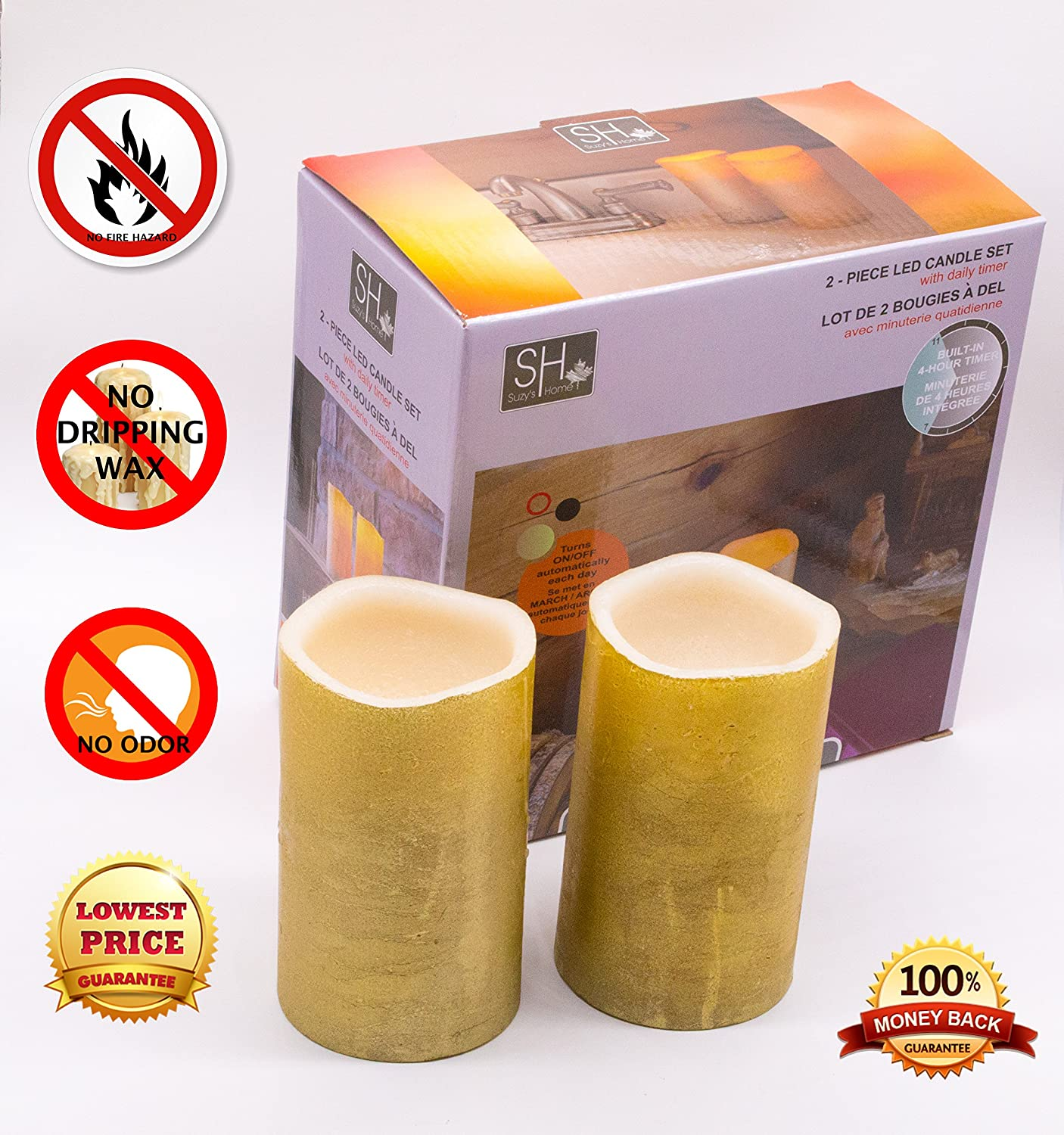 LED Candles Set of Two Realistic Battery Powered Odorless Flameless Dripless Candles from Suzy's Home Collection Toy Target Inc.