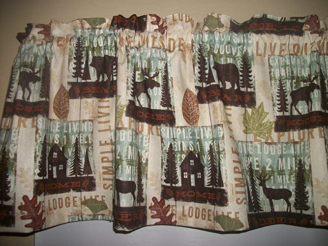 Cabin Lodge Camp Moose Bear Deer North Woods Fall Fabric Curtain Topper Valance Matching Throw Pillow