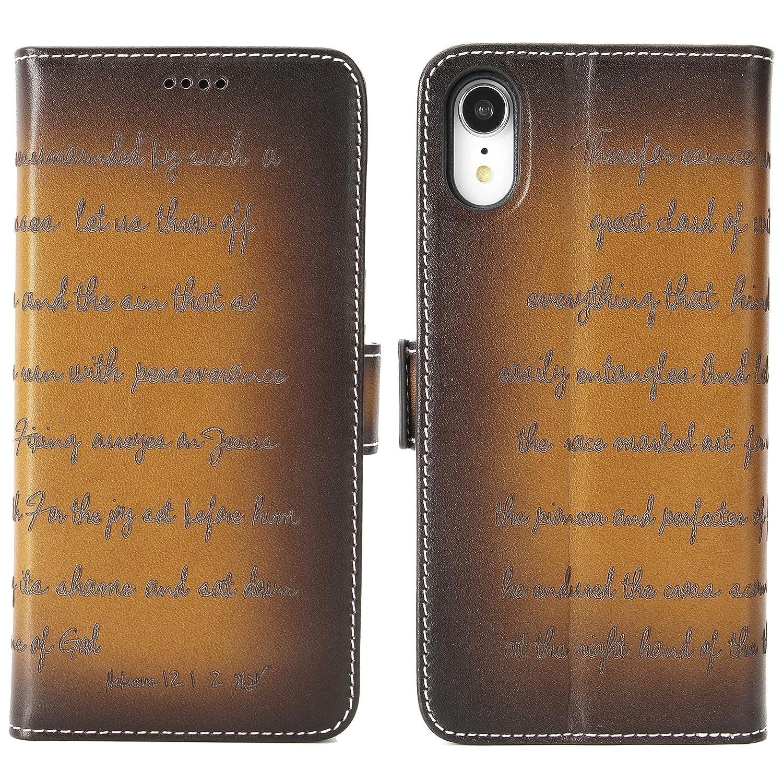 Amazon.com: Funda tipo cartera para iPhone XR (piel de grano ...