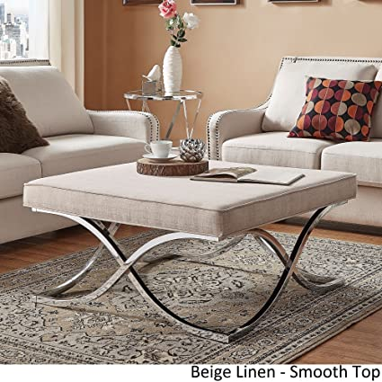 Inspire Q Solene X Base Square Ottoman Coffee Table   Chrome By Bold Beige  Smooth Top