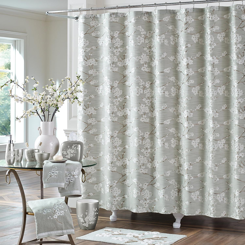 Amazon Five Queens Court Mateo Cherry Blossom Woven Jacquard Luxury Shower Curtain Sea Foam Home Kitchen