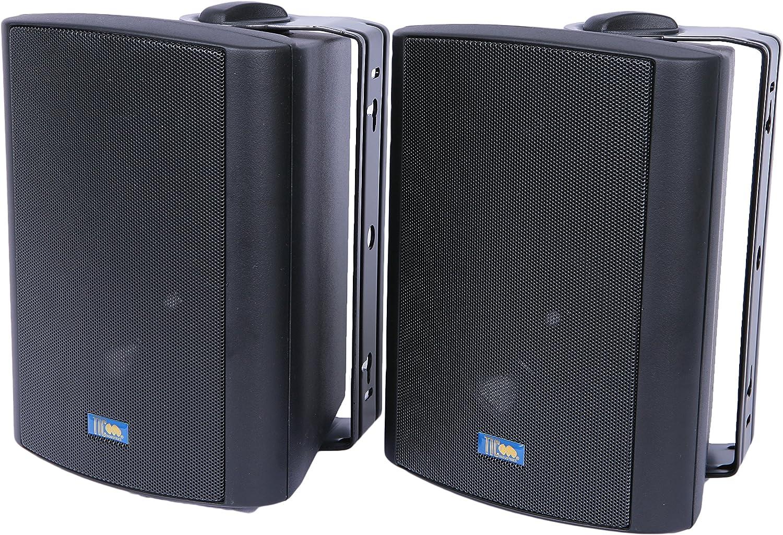Pair Black TIC PAT5-B 5 Indoor//Outdoor Weather-Resistant 2-Way Patio Speakers