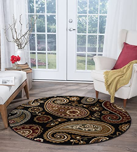 Hayley Transitional Paisley Black Round Area Rug
