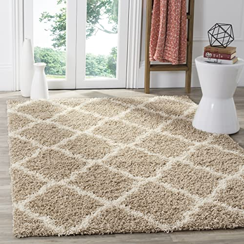 Safavieh Dallas Shag Collection SGD257D Beige and Ivory Area Rug 6 x 9
