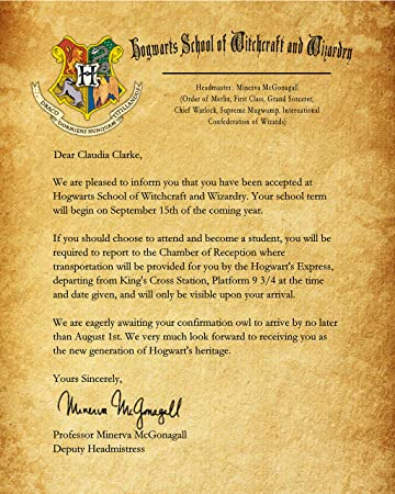 Amazon.Com: Harry Potter Hogwarts School Acceptance Letter