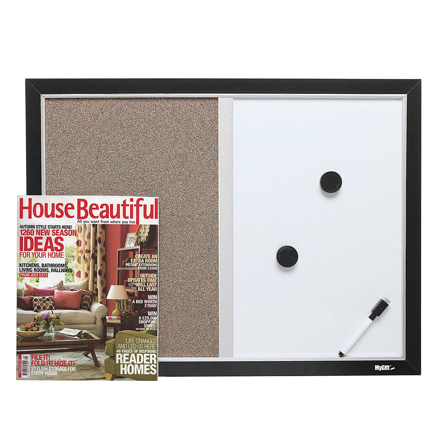 Amazon.com : 2-in-1 Black Wood Framed Wall Mounted Combination ...