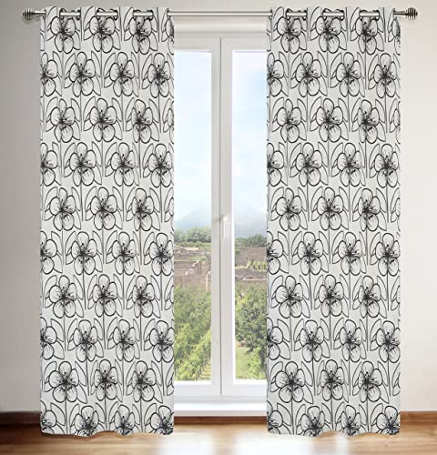 LJ Home Fashions Tania Faux Silk Vintage Floral Grommet Curtain Panels Set of 2 , 54×95-in, Silver Grey Black