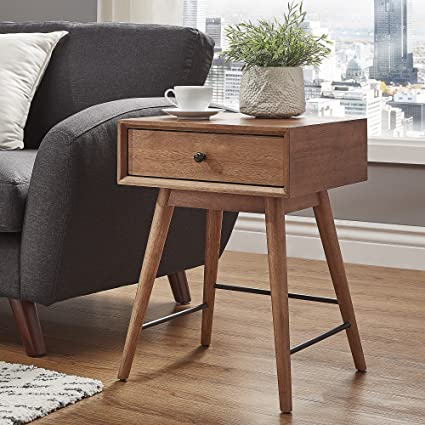 Amazoncom Contemporary Rectangle End Table 1 Drawer Mid Century