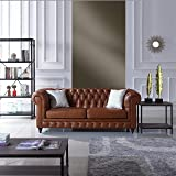 Classic Scroll Arm Real Italian Leather Chesterfield Sofa (Camel)