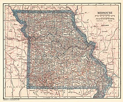 Amazon.com: 1925 Antique Missouri State Map Original Vintage ...
