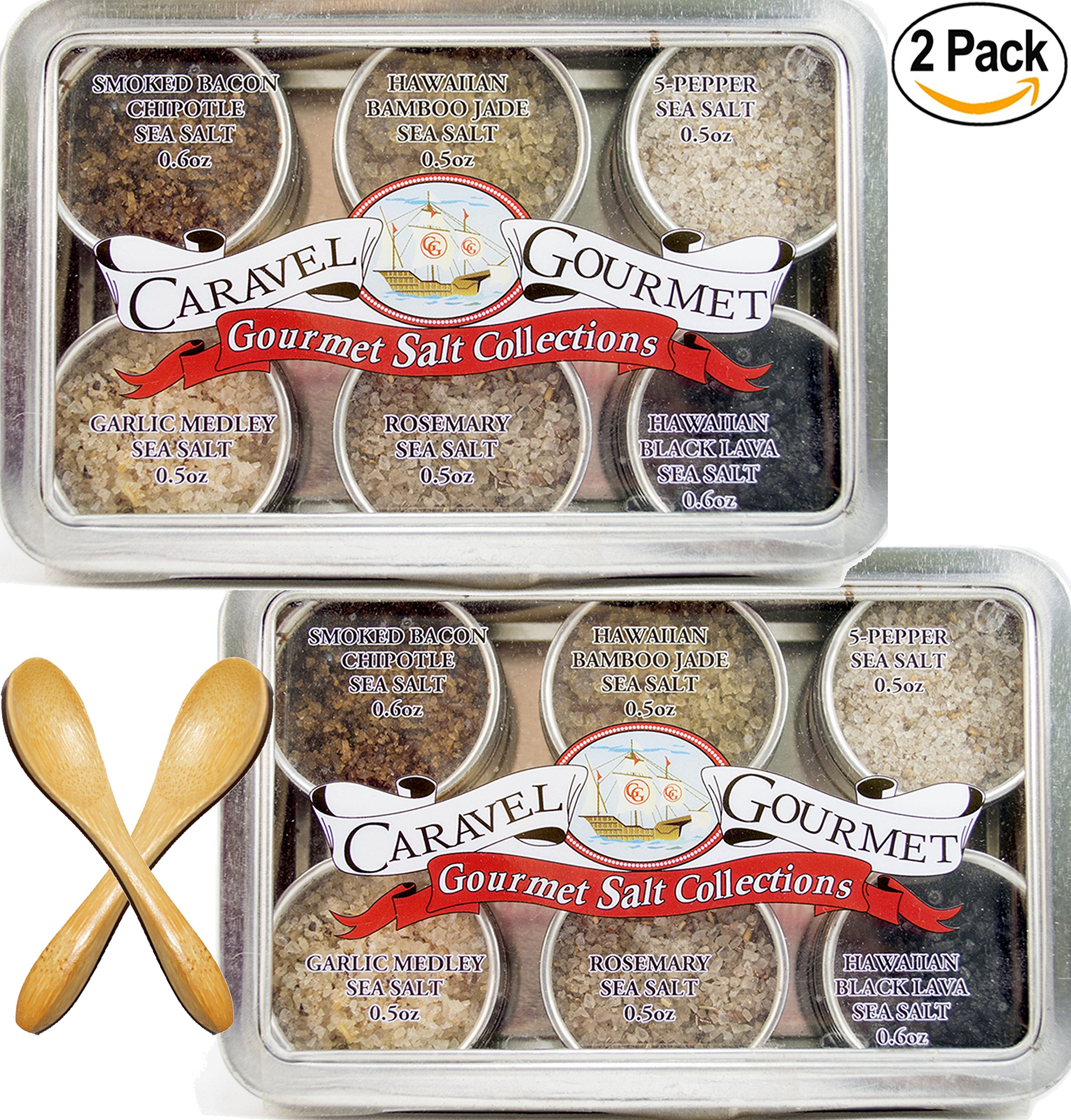 The #1 Gourmet Sea Salt Sampler - 6 Delicious Salts in Reusable Tins with a Bamboo Spoon, in a Variety of Flavor Profiles - Perfect Gift for Everyone (Infused, Two Pack Sampler)