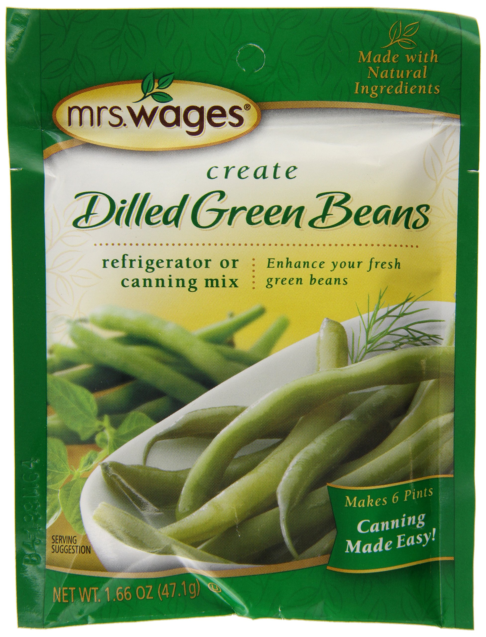 Mrs. Wages Dilled Green Bean Mix, 1.66-Ounce Pouches (Pack of 12)