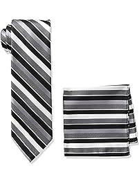 Pierre Cardin Men's Plaid Tie and Pocket Square