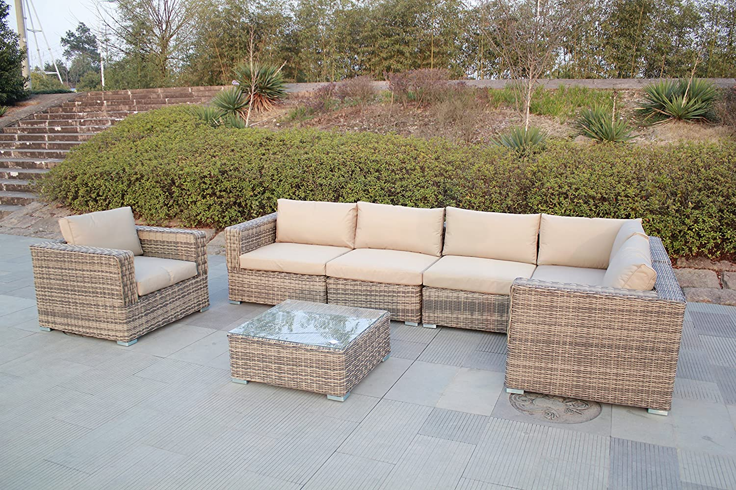 husen Outdoor Furniture Patio Sofa 7 Piece Sectional Table Chair Wicker (7 pcs Khaki)