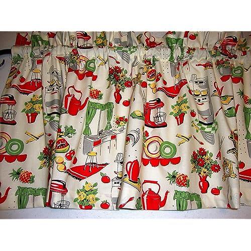 Kitchen Curtains Fabric Vintage Ki Curtains Fabric: Retro Fabric Curtains For Window: Amazon.com
