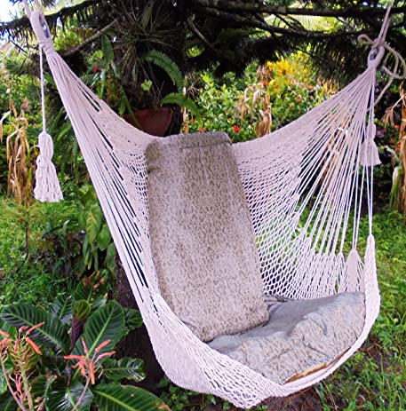 Two Points Support Hammock Chair Handmade Cotton Beige By Leetyahammocks /  Indoor Outdoor Chair Hammock/