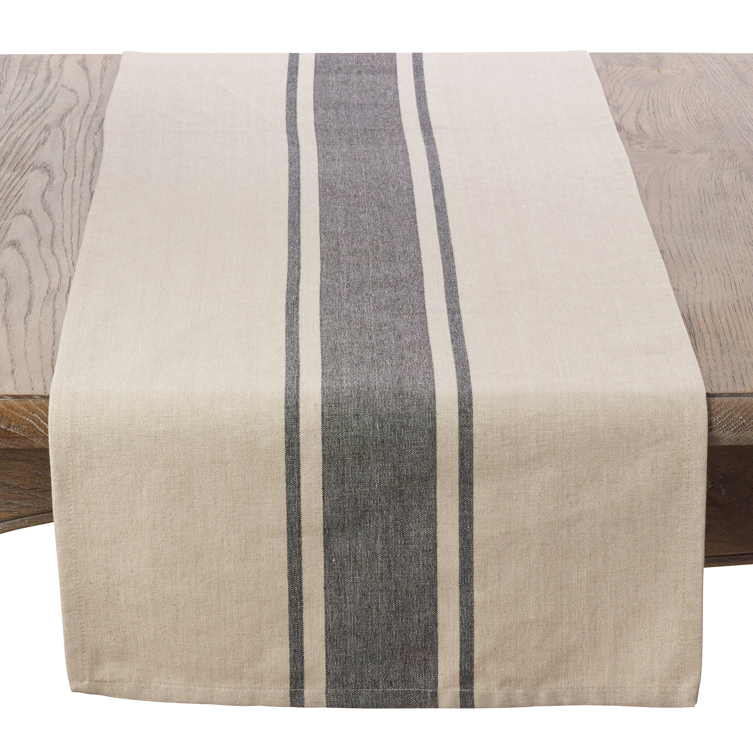 SARO LIFESTYLE 3011.N1672B Classic Banded Stripe Pattern Cotton Table Runner,Natural,16'' x 72''