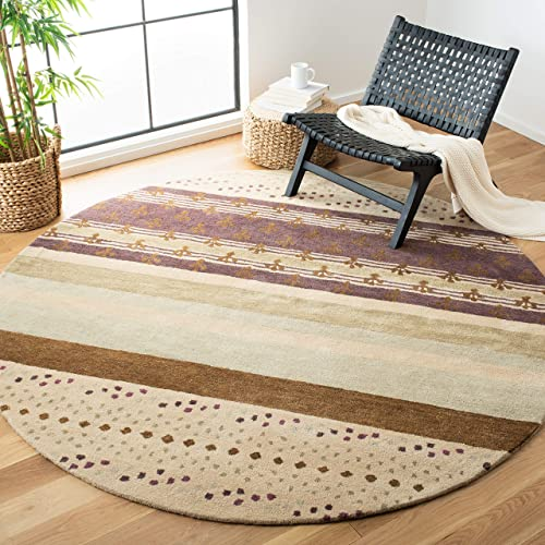 Safavieh Wyndham Collection WYD612A Handmade Ivory and Multi Wool Round Area Rug