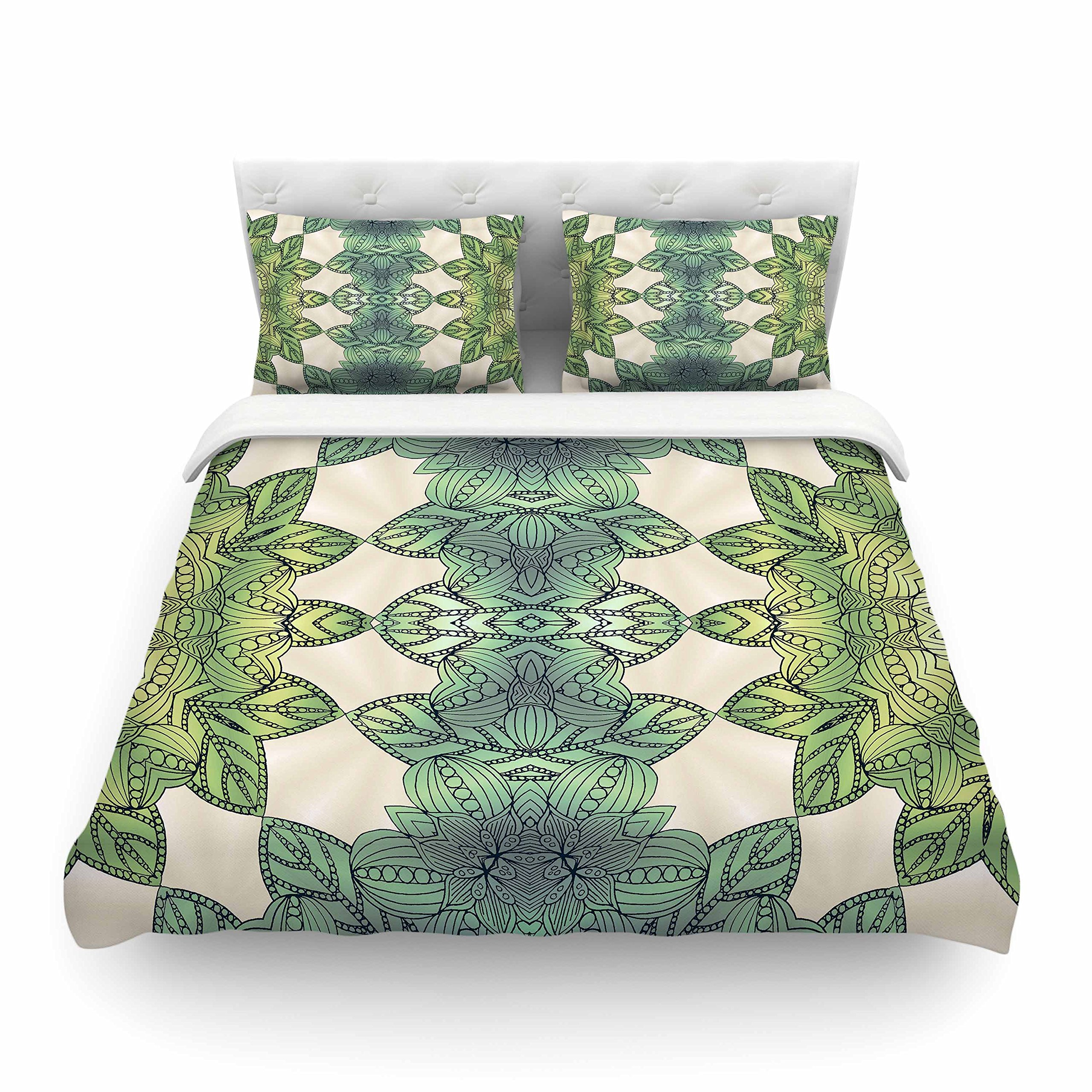 KESS InHouse Art Love Passion ''Forest Leaves'' Green Teal Celtic Abstract King Cotton Duvet Cover, 104 x 88''