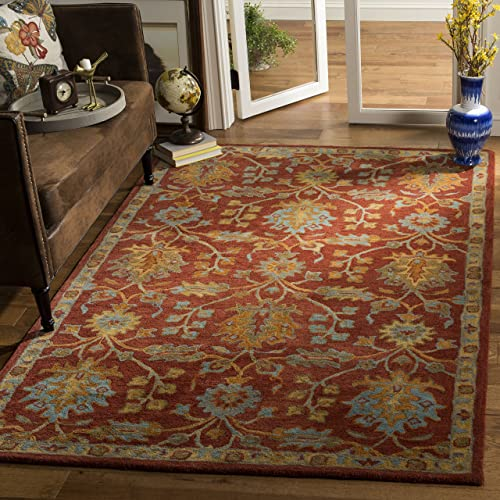 Safavieh Heritage Collection Red and Multi Premium Wool Area Rug, 5 x 8 ,