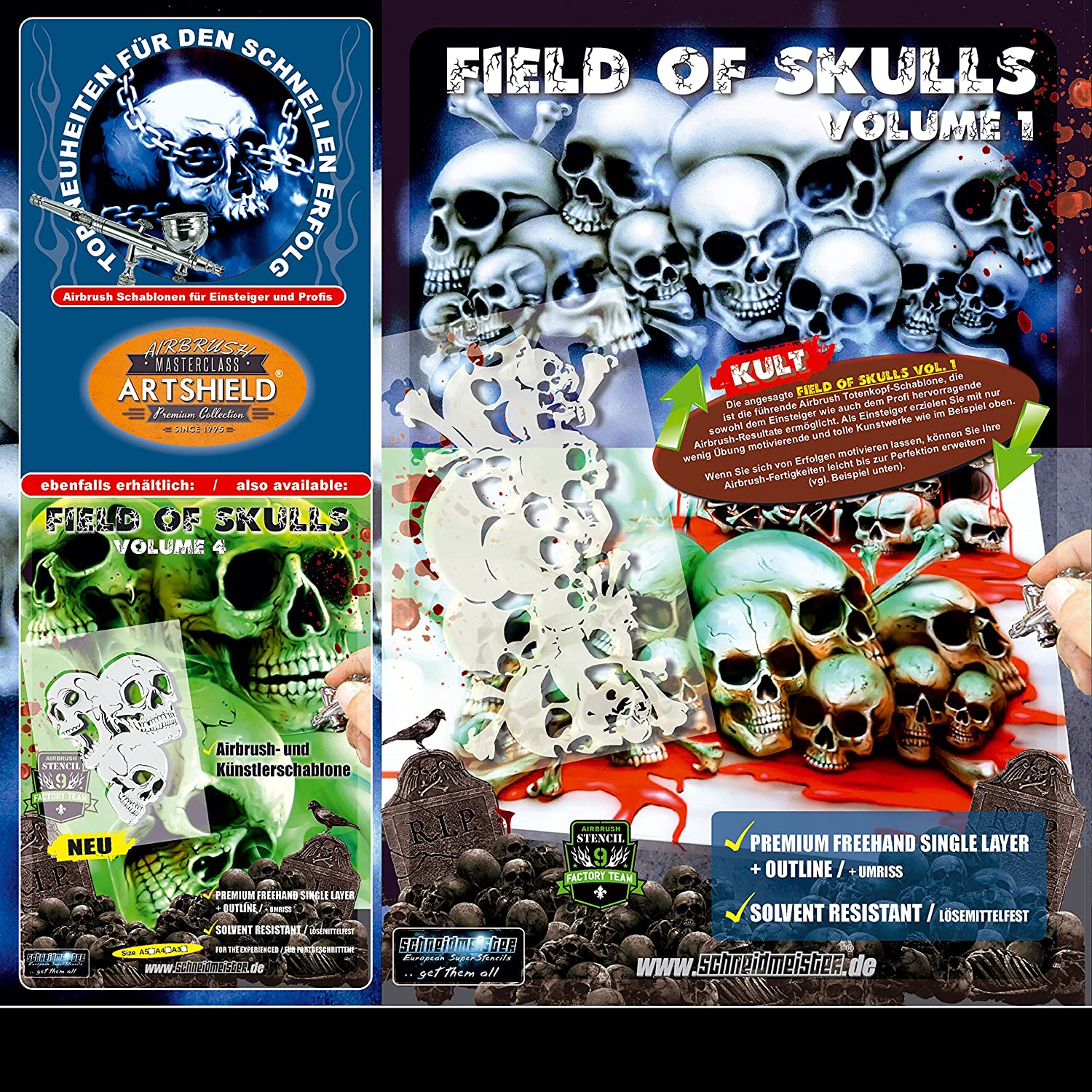Amazon.com: Schneidmeister Airbrush Stencil FIELD OF SKULLS (Size -LARGE-) Mylar Template, two layer single Quickstep, EZ SuperStencil, SM-FOS001
