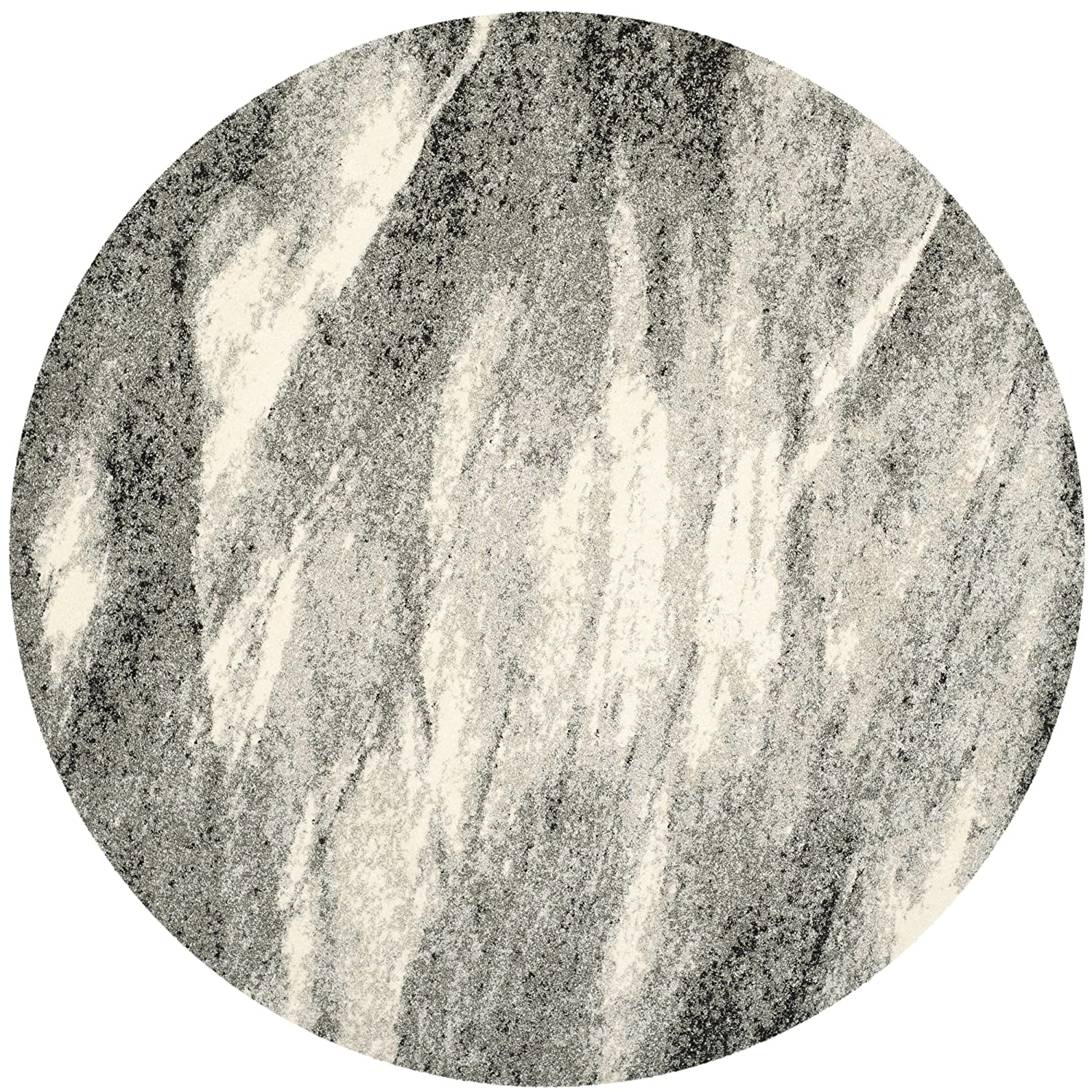 Safavieh Retro Collection RET2891-8012 Modern Abstract Grey and Ivory Round Area Rug (6