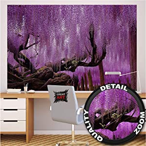 GREAT ART Photo Wallpaper – Wisteria – Picture Decoration Purple Chinese Tree Mystic Forest Fairy Tale Avenue Nature Garden Landscape Image Decor Wall Mural (82.7x55.1in - 210x140cm)
