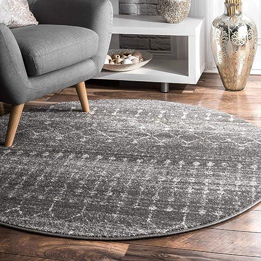 Nu Loom Moroccan Blythe Round Rug, 8' Round, Dark Grey by Nu Loom