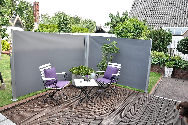 Leco 24400114 Double Brise Vue Télescopique pour Jardin Aluminium ...