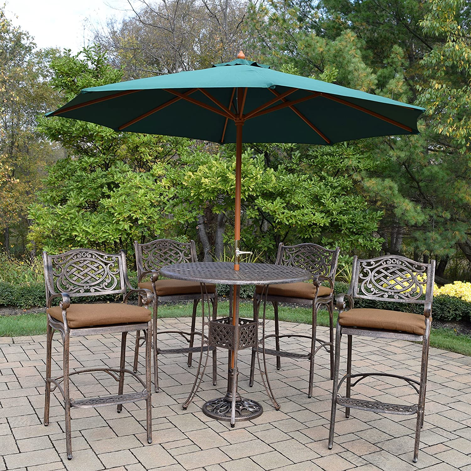 Amazon Com Oakland Living Ice Cooler Carts Az1101bt 2110bc4 D54 4001gn 4101ab 11 Ab Elite Mississippi Bar Set With Table Sunbrella Cushioned Bar Stools Crank Wooden Umbrella And Stand Antique Bronze Garden Outdoor