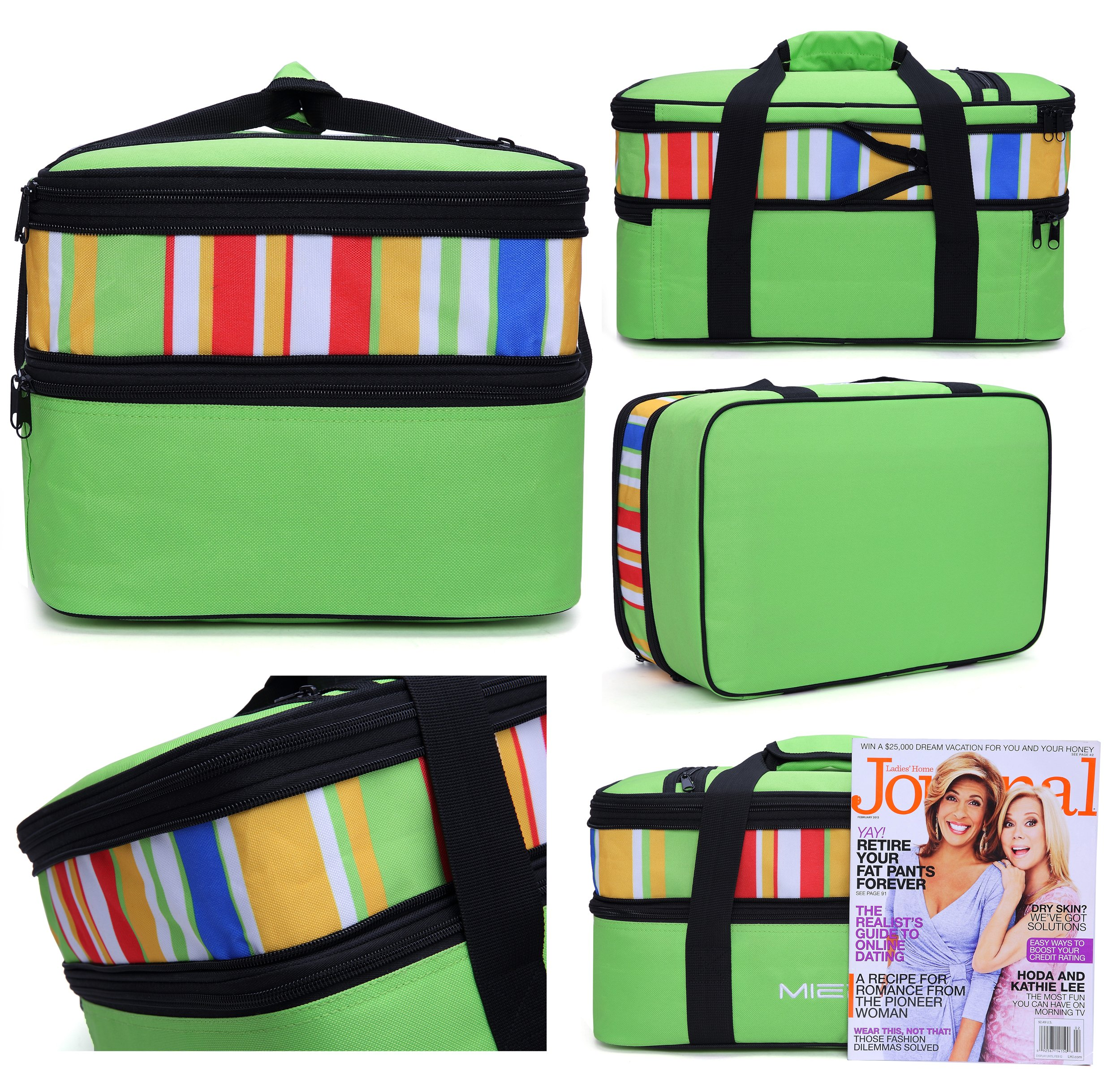 eebf8790d91002 MIER Insulated Double Casserole Carrier Thermal Lunch Tote for Potluck  Parties, Picnic, Beach - Fits 9