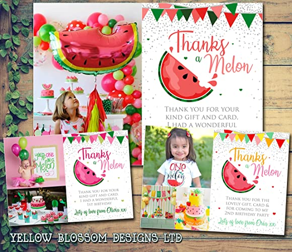 Personalised Photo Cards Watermelon Birthday Party Christening