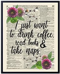 Printsmo, Coffee and Books Typography Quote, Vintage Dictionary Art Print, Coffee Lovers and Book Lovers Art Print with Rustic Botanical Arrangement, Wall Art for Home Decor, 8x10 inches, Unframed