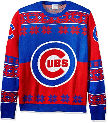 12b22a1843e Amazon.com   Chicago Cubs Big Logo Ugly Crew Neck Sweater Large   Sports    Outdoors