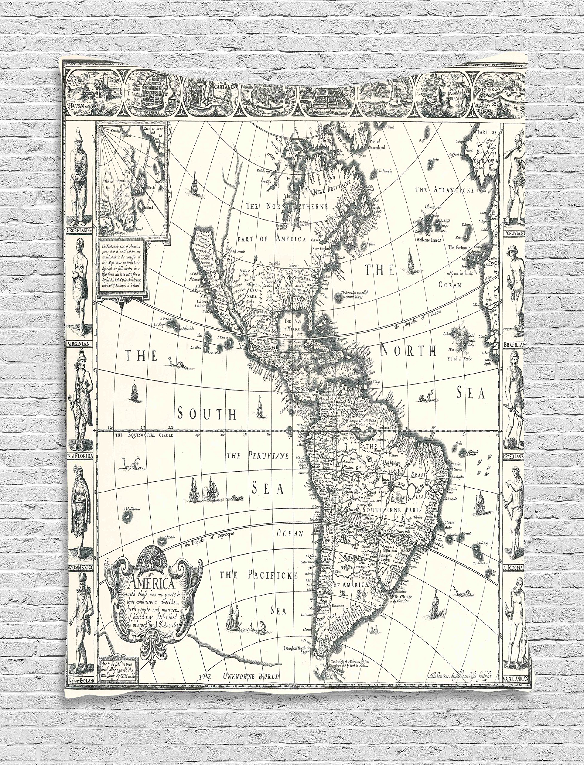 Ambesonne Map Tapestry Vintage Decor, Image of Antique Map America in 1600s World in Medieval Time Ancient Era Retro Home Decor, Bedroom Living Room Dorm Wall Hanging, 40 x 60 inches, Grey Beige