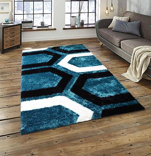 Rug Deal Plus All New Contemporary Geometric Design Shag Rugs 5 x 7 , Blue Black