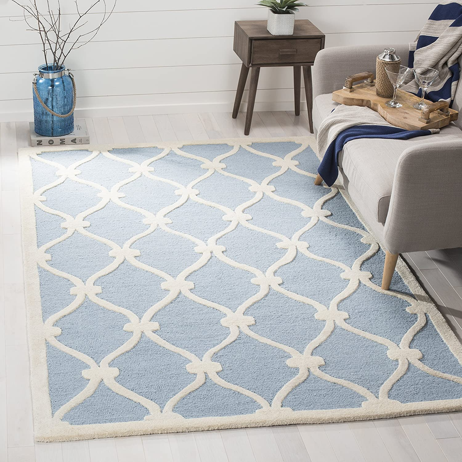 2 X 3 Safavieh Cambridge Collection Cam782b Handcrafted Moroccan Geometric Blue And Ivory Premium Wool Area Rug Runners Home Kitchen