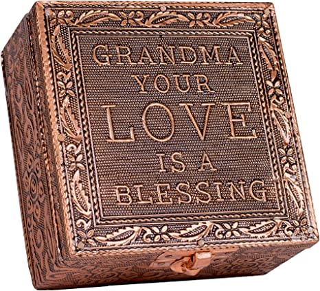 Cottage Garden Grandma Love Blessing Small Stamped Metal Copper Finish Jewelry Keepsake Decorative Box Home Kitchen