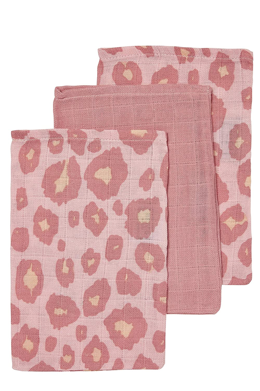 Meyco 458014 Mull//Musselin Waschlappen 3er Set 21x17cm PANTER//UNI Altrosa-Pink