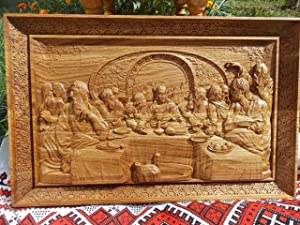 The Last Supper Icon Durable Unique christian gift Wood Carved religious wall plaque FREE ENGRAVING FREE SHIPPING