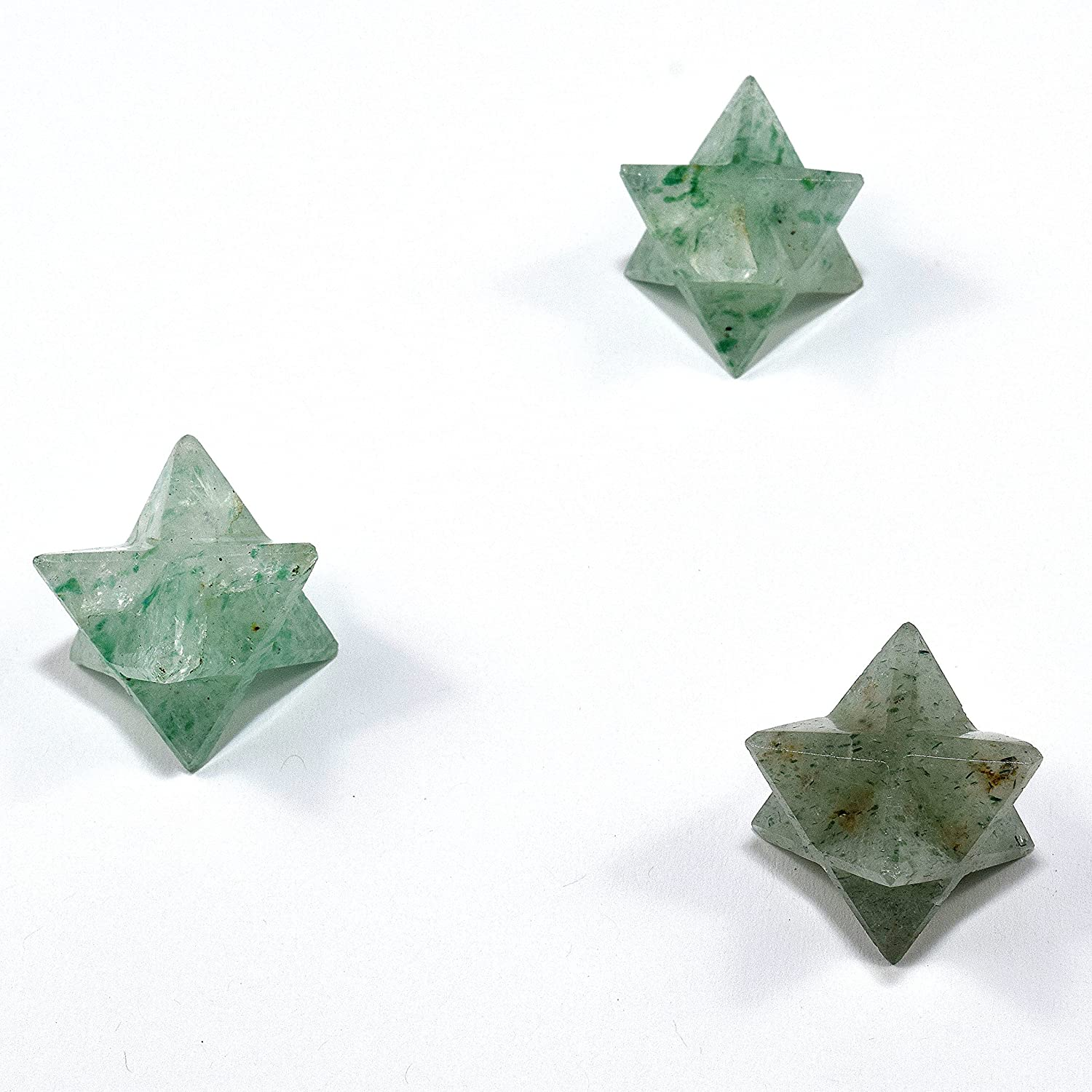 25mm Prasiolite 8 Point Merkaba Star Natural Green Quartz Mineral Sparkling Crystal Polished Stone Star - India (1PC) HQRP