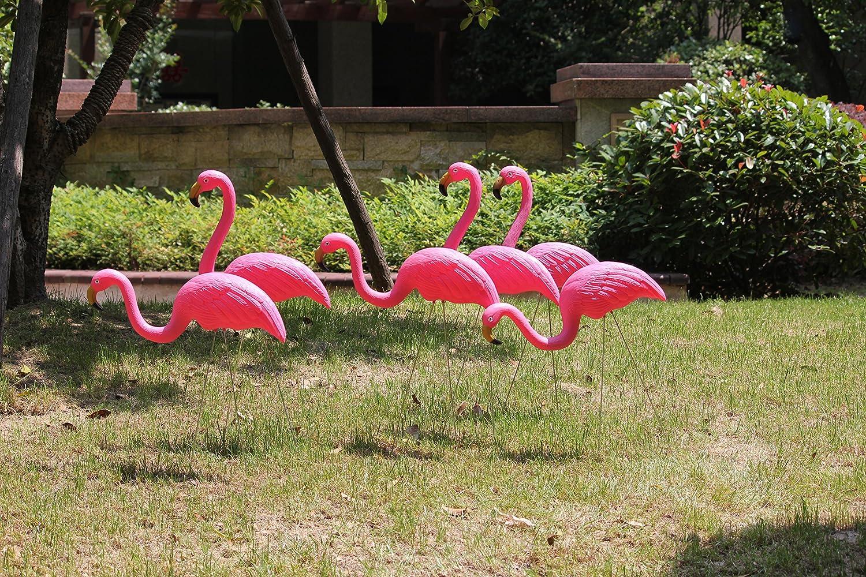 GUNKING 2 Pink Flamingos Plastic Yard Garden Lawn Art Ornaments ...