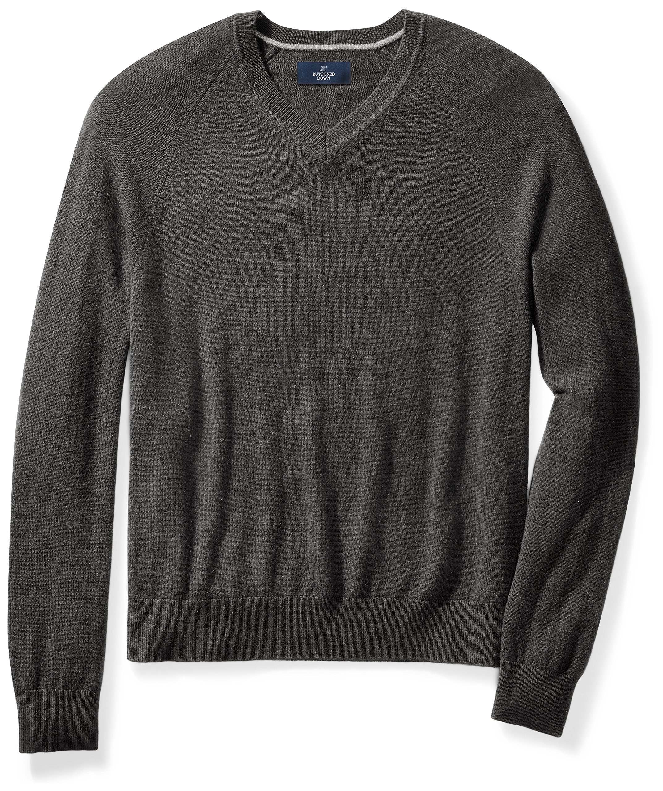 Buttoned Down Men's Cashmere V-Neck Sweater, Dark Grey, X-Large