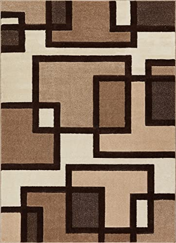 Uptown Squares Ivory Brown Modern Geometric Comfy Casual Hand Carved Area Rug 9×13 9'2″ x 12'6″ Easy Clean Stain Fade Resistant Abstract Boxes Contemporary Thick Soft Plush Living Dining Room