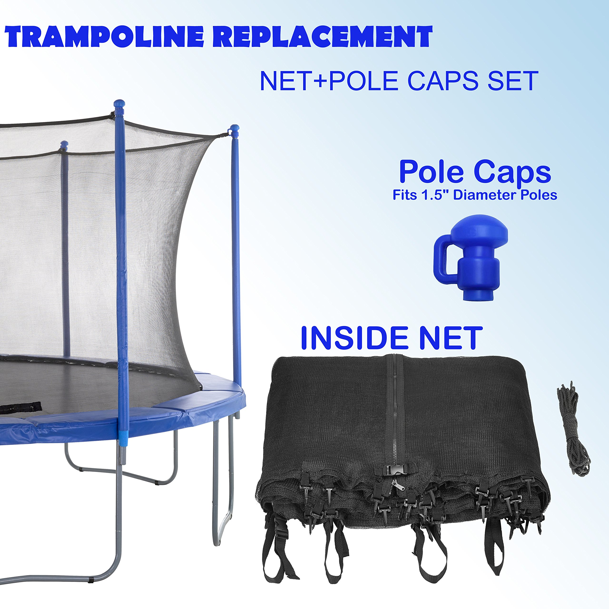 Upper Bounce Super Net & Pole Cap Set Fits For 14' Round Trampoline Frames Using 8 Poles